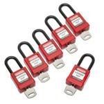 AbilityOne 5340016502636, Lockout Tagout Padlocks, 1 Set of 6 Keyed Alike Product Image
