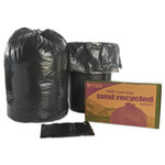 """AbilityOne 8105013862399, SKILCRAFT Recycled Content Trash Can Liners, 60 gal, 1.5 mil, 38"""" x 60"""", Black/Brown, 100/Carton Product Image"""