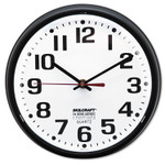 """AbilityOne 6645013897958 SKILCRAFT Slimline Quartz Wall Clock, 9.2"""" Overall Diameter, Black Case, 1 AA (sold separately) Product Image"""