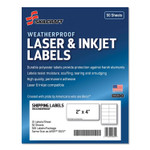 AbilityOne 7530016736220 SKILCRAFT Weatherproof Mailing Labels, Laser Printers, 2 x 4, White, 10/Sheet, 50 Sheets/Pack Product Image