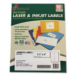 AbilityOne 7530016736513 SKILCRAFT Recycled Laser and Inkjet Labels, Inkjet/Laser Printers, 1.33 x 4, White, 14/Sheet, 100 Sheets/Box Product Image