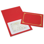 AbilityOne 7510016272960 SKILCRAFT Gold Foil Document Cover, 12 1/2 x 9 3/4, Red, 6/Pack Product Image