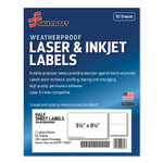 AbilityOne 7530016736219 SKILCRAFT Weatherproof Mailing Labels, Laser Printers, 5.5 x 8.5, White, 2/Sheet, 50 Sheets/Pack Product Image