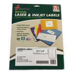 AbilityOne 7530016736514 SKILCRAFT Recycled Laser and Inkjet Labels, Inkjet/Laser Printers, 1.33 x 4, White, 14/Sheet, 25 Sheets/Pack Product Image