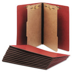 AbilityOne 7530015567912 SKILCRAFT Pressboard Top Tab Classification Folder, 2 Dividers, Letter Size, Earth Red, 10/Box Product Image