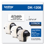 Brother Die-Cut Address Labels, 1.4 x 3.5, White, 400/Roll, 3 Rolls/Pack Product Image