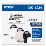 Brother Die-Cut Name Badge Labels, 2.3 x 3.4, White, 260/Roll, 3 Rolls/Pack Product Image