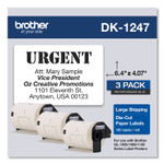 Brother Die-Cut Shipping Labels, 4.07 x 6.4, White, 180/Roll, 3 Rolls/Pack Product Image