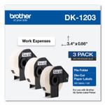 Brother Die-Cut File Folder Labels, 0.66 x 3.4, White, 300/Roll, 3 Rolls/Pack Product Image