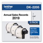 """Brother Continuous Paper Label Tape, 2.4"""" x 100 ft, White, 3 Rolls/Pack Product Image"""