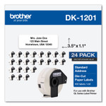 Brother Die-Cut Address Labels, 1.1 x 3.5, White, 400/Roll, 24 Rolls/Pack Product Image
