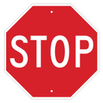 Brady STOP Signs, 18w x 18h, White on Red Product Image