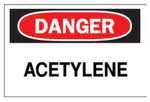 Brady Chemical  Hazardous Material Signs, Danger, Acetylene, White/Red/Black Product Image