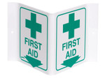 """Brady Standard """"V"""" Signs, FIRST AID (W/PICTO), Green on White Product Image"""