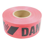 Presco Reinforced Barricade Tape, 3 in W x 500 ft L , Danger/Peligro, Red Product Image