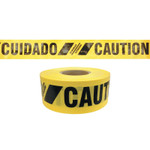 Presco Reinforced Barricade Tape, 3 in W x 500 ft L , Caution/Cuidado, Yellow Product Image