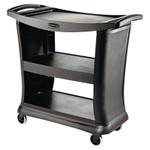 RUBBERMAID COMMERCIAL PROD. Executive Service Cart, Three-Shelf, 20-1/3w x 38-9/10d, Black Product Image