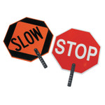 """Cortina Safety Paddle, Silk-Screened Plastic, 9"""" Hndl, STOP/SLOW, Red/White/Orange/Blk Product Image"""
