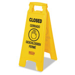 """Rubbermaid Commercial Multilingual """"Closed"""" Sign, 2-Sided, Plastic, 11w x 12d x 25h, Yellow Product Image"""