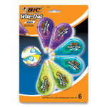 """BIC Wite-Out Brand Mini Correction Tape, Non-Refillable, 0.2"""" x 314"""".4, White Tape, 6/Pack Product Image"""