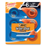 """BIC Wite-Out EZ Correct Correction Tape, Non-Refillable, 0.17"""" x 468"""", White Tape, 6/Pack Product Image"""