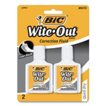 BIC Wite-Out Quick Dry Correction Fluid, 20 mL Bottle, White, 2/Pack Product Image