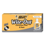 BIC Wite-Out Quick Dry Correction Fluid, 20 mL Bottle, White, 4/Pack Product Image