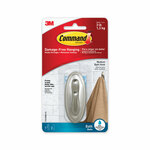 Command Bath Hooks, Medium, Brushed Nickel, 3 lb Capacity, 2 Hooks and 4 Strips/Pack Product Image