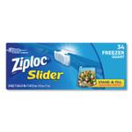 """Ziploc Slider Freezer Bags, 1 qt, 1.75 mil, 5.88"""" x 1.88"""" x 7.88"""", Clear, 34/Box Product Image"""