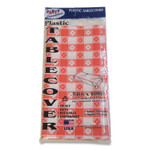 Tablemate Table Set Rectangular Table Covers, Heavyweight Plastic, 54 x 108, Plaid Red/White, 6/Pack Product Image