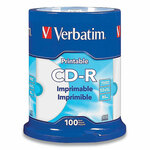 Verbatim CD-R Printable Recordable Disc, 80 min, 52x, Spindle, White, 100/Pack Product Image