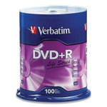 Verbatim DVD+R LifeSeries Branded Disc, 4.7 GB, 16x, Spindle, Silver, 100/Pack Product Image
