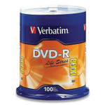Verbatim DVD-R LifeSeries Branded Disc, 4.7 GB, 16x, Spindle, Silver, 100/Pack Product Image