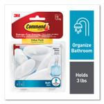 Command Medium Bath Hooks Value Pack, Plastic, White, 3 lb Capacity, 6 Hooks and 6 Strips Product Image