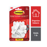 Command General Purpose Hooks, Small, Plastic, White, 1 lb Cap, 6 Hooks and 12 Strips/Pack Product Image