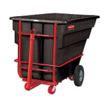 Rubbermaid Commercial Rotomolded Towable Tilt Truck, Rectangular, Plastic, 1.5 cu yd, 2,100-lb Capacity, Black/Red Product Image
