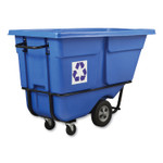 Rubbermaid Commercial Rotomolded Recycling Tilt Truck, Rectangular, Plastic with Steel Frame, 1 cu yd, 1,250 lb Capacity, Blue Product Image