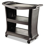 Rubbermaid Commercial Executive Service Cart, Three-Shelf, 20.33w x 38.9d x 38.9 h, Black Product Image
