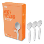 Perk Heavyweight Plastic Cutlery, Soup Spoon, White, 100/Pack Product Image