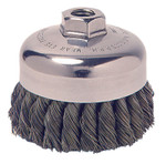 Weiler Vortec Pro Knot Wire Cup Brush, 4 in Dia., 5/8-11 Arbor, .025 in Carbon Steel Product Image