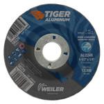 Weiler Aluminum Combo Wheels, 4 1/2 in Dia, 7/8 in Arbor, Type 27, 24 Grit, Alum. Oxide Product Image