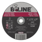 B-Line Cutting Wheel, 4 in dia, 1/16 in Thick, 3/8 in Arbor, 36 Grit, Alum Oxide Product Image