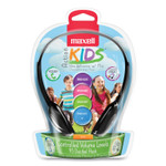 Maxell Kids Safe Headphones with Inline Microphone, Black with Interchangeable Caps in Pink/Blue/Silver Product Image