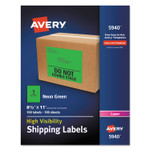 Avery High-Visibility Permanent Laser ID Labels, 8 1/2 x 11, Neon Green, 100/Box Product Image