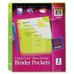 Avery Corner Lock Three-Pocket Binder Pocket, 11 1/4 x 9 1/4, Assorted Color, 3/Pack Product Image