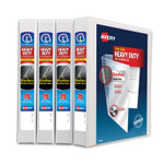 """Avery Heavy-Duty Non Stick View Binder with DuraHinge and Slant Rings, 3 Rings, 1"""" Capacity, 11 x 8.5, White, 4/Pack Product Image"""