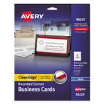 Avery Round Corner Print-to-the-Edge Business Cards, Inkjet, 2 x 3 1/2, White, 160/PK Product Image