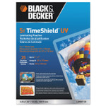 """BLACK+DECKER TimeShield Laminating Pouches, 5 mil, 5.25"""" x 7.25"""", Gloss Clear, 25/Pack Product Image"""