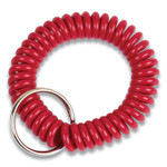 CONTROLTEK Wrist Key Coil Key Organizers, Red, 12/Pack Product Image
