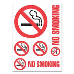 """COSCO Preprinted Vinyl Decal Sign, Five-Piece """"No Smoking"""" Set, Assorted Sizes, Red/White Product Image"""